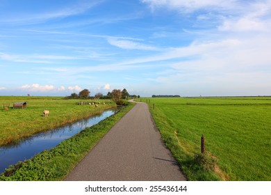 Road to the sea. Dutch meadow  landscape, Netherlands