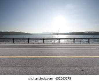 Road side dam view, sunset  background