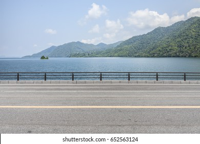 Road side view mountain and sea background