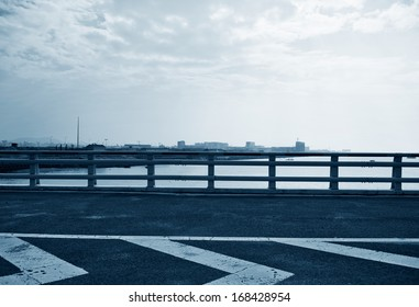 Road side view on sky background.