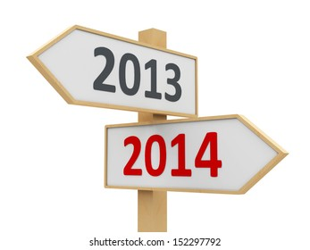 Road sign with 2013-2014 change on white background represents the new 2014, three-dimensional rendering