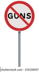 A road sign against Guns