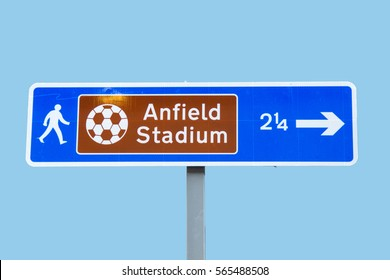 Road sign to Anfield Stadium - football  in Liverpool UK