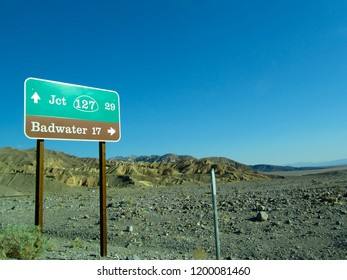 Road sign Badwater in Death Valley National Park, USA