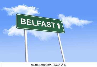 Road sign - Belfast. Green road sign (signpost) on blue sky background. (3D-Illustration)