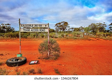 Road sign between Kalgoorlie and Trans Access Road