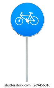 Road sign for a bicycle lane on rod isolated on white