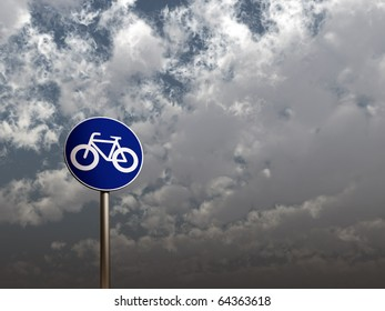 road sign bicycle under cloudy sky - 3d illustration