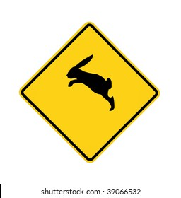 road sign - bunny crossing