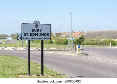 Road sign for Bury St Edmunds, Suffolk, England