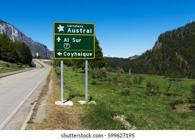 Road Sign in the Carretera Austral near the town of Coyhaique in Chile, South America