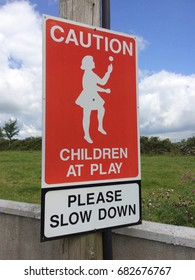 Road Sign Caution Children at Play Left