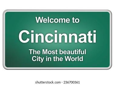 road sign with the city Cincinnati