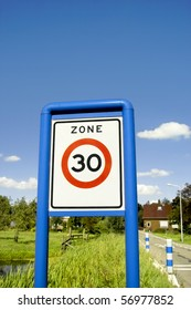 Road sign close-up, speed limit zone