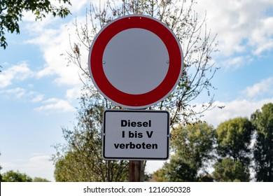 """Road sign for diesel driving ban with german lettering """"Diesel I bis V verboten"""" means Diesel 1 to 5 forbidden"""