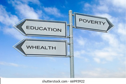 Road sign to education , wealth, and poverty