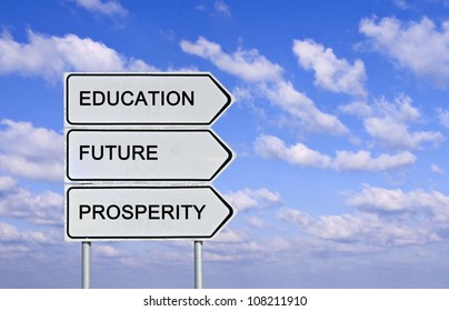Road sign to  education,prosperity, and and future