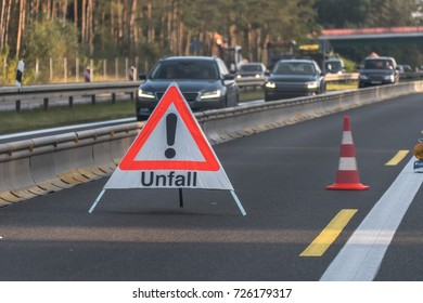 Road sign, emergency and transport concept Traffic control cones at side street.Police stops cars for the control or accident.