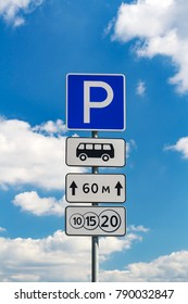 Road sign for a fee parking on a blue sky background