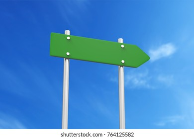 Road sign in front of blue sky, 3d illustration