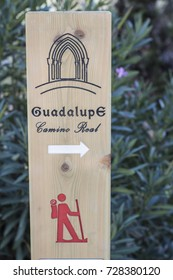 Road sign of Guadalupe, Caceres, Extremadura, Spain