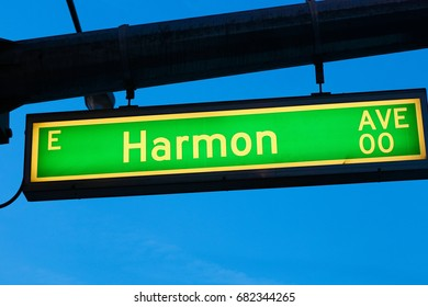 The Road sign of Harmon Avenue