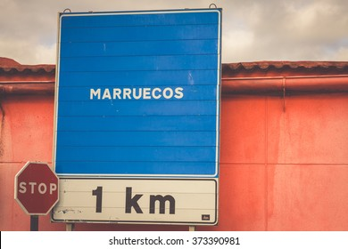 Road sign indicating the border of a Africa country: Morocco