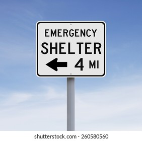 A road sign indicating Emergency Shelter