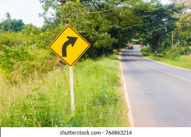 Road sign indicating right turn