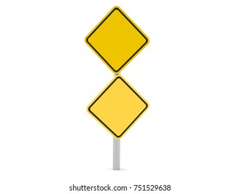 Road sign isolated on white background. 3d illustration
