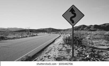 Road sign in Joshua Tree National Park in black and white