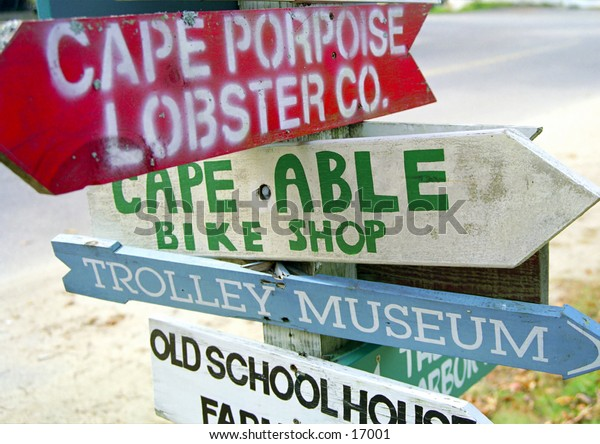 Road sign in Kennebunkport Maine.