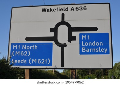 Road sign at the M1 Motorway junction near Wakefield, West Yorkshire, England, UK - 2019