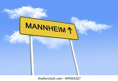 Road Sign - Mannheim. Design road signs - black text on a yellow background, used in Germany. (3D Illustration)