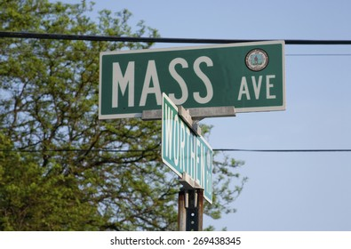 Road sign for MASS Avenue and Worthen Rd., Western Mass outside of Boston