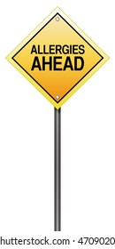 "Road Sign Metaphor with ""Allergies Ahead"""