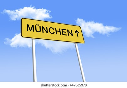 Road Sign - Munich. Inscription on the image in German. Design road signs - black text on a yellow background, used in Germany. (3D Illustration)