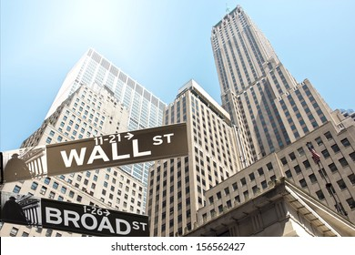 Road sign of New York  Wall street corner Broad street