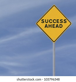 �Success Ahead� road sign on a blue sky background (with copy space)