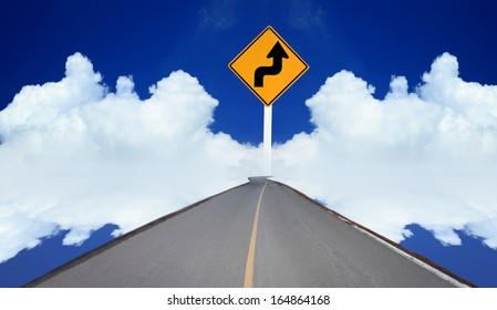 Road sign on the clouds with blue sky
