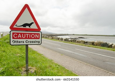 Road sign on a countryside road warning for otters crossing in Scotland, UK.