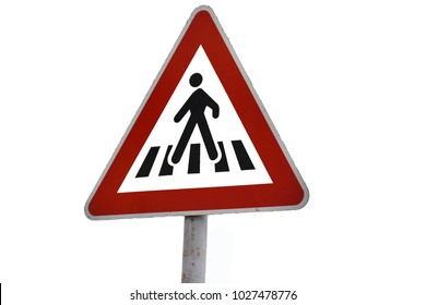 road sign of a pedestrian crossing on a white background