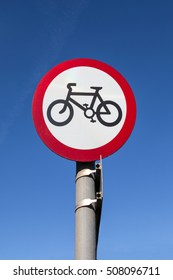 Road sign, prohibited bicycle sign