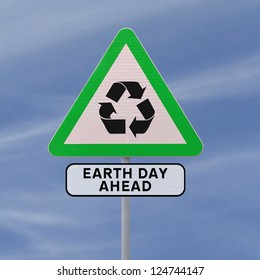 A road sign promoting environmental awareness (against a blue sky background)