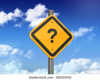 Road Sign with QUESTION MARK Text on Blue Sky and Clouds Background. High Quality 3D Rendering