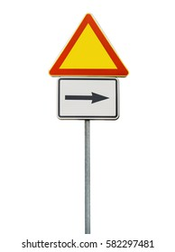 Road sign for right arow and red triangle sign isolated on rod