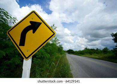 Road sign, Right curve ahead