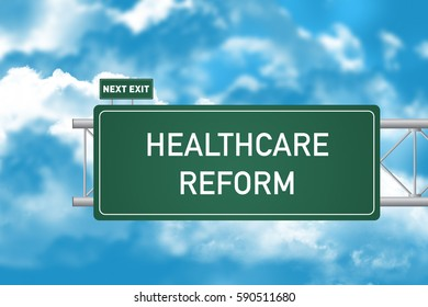 Road Sign Showing Healthcare Reform