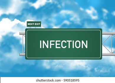 Road Sign Showing Infection