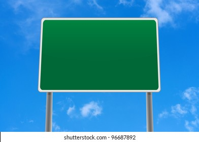 A road sign in sky with place for text or symbols